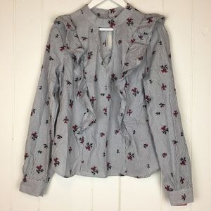 Mossimo Striped Floral Blouse Medium NWT